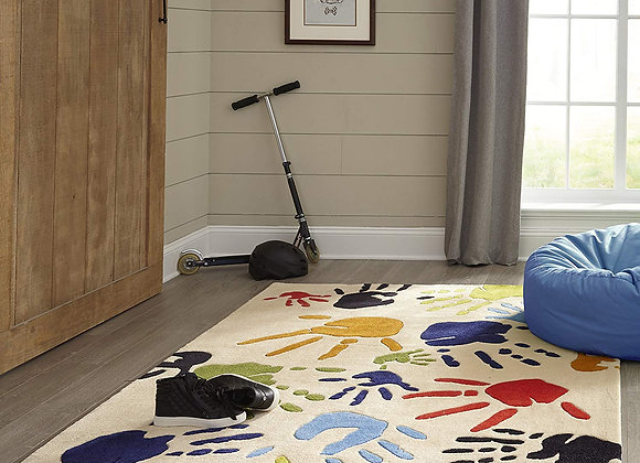 Momeni Kids Multicolor Handprint Hand Carved and Tufted Area Rug