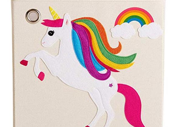 Rainbow Unicorn Storage Canvas Cube