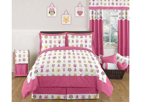 Sweet JoJo Designs Happy Owl Quilt and Sham Bedding Set