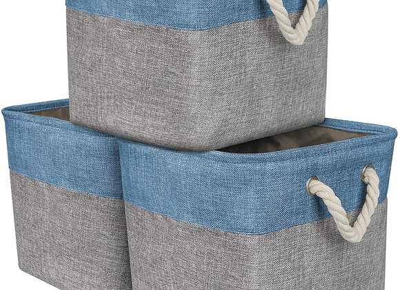 Set of 3 Large Fabric Storage Baskets in Blue and Gray