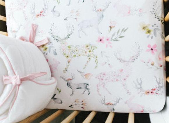 Oilo Fawn Jersey Crib Sheet in Blush