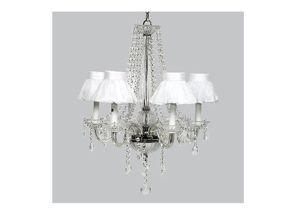 Jubilee 6 Light Middleton Glass Chandelier with White Ruffle Shades