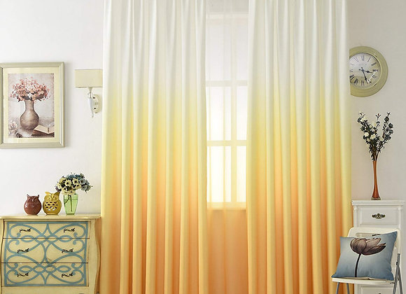 Set of 2 Ombre Yellow and White Sheer Window Panels