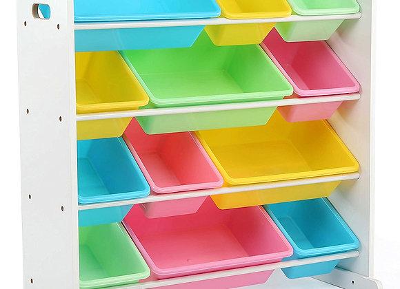 12 Bin Toy Storage Organizer Pink Green Yellow