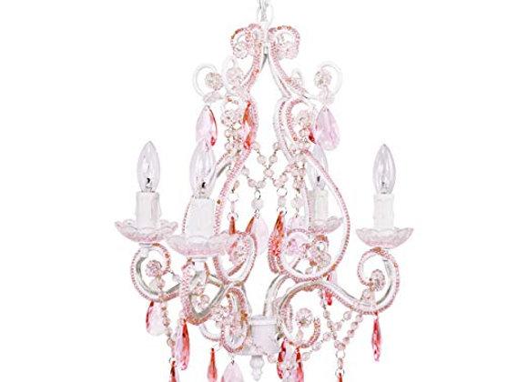 Tadpoles 4 Arm Vintage Pink Sapphire Chandelier