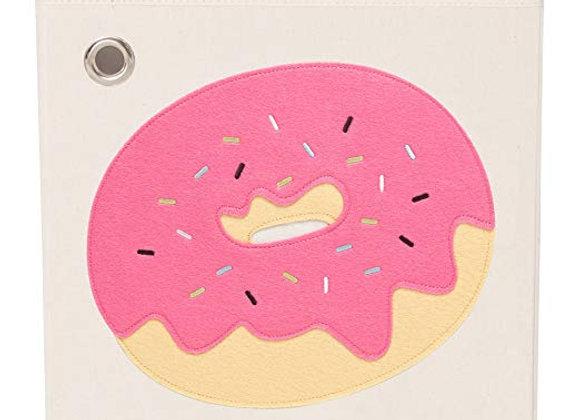 Sprinkled Pink Donut Storage Canvas Cube