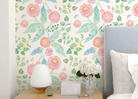 Simple Shapes Spring Gardens Peel and Stick Wallpaper