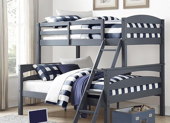 Living Brady Twin over Full Solid Wood Bunk Bed in Gray