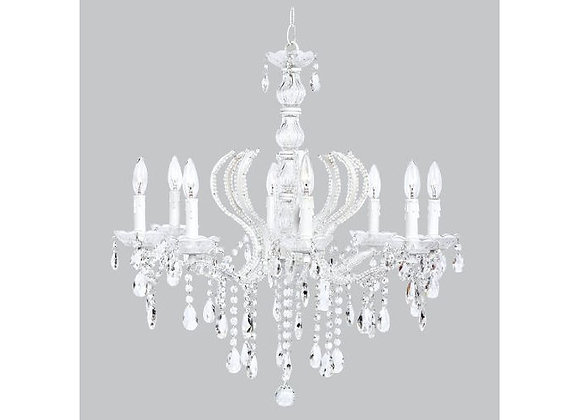 Jubilee 8 Light Beaded Pageant Chandelier with Glass Center