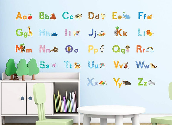 Decowall Watercolor Animal Alphabet Wall Decals