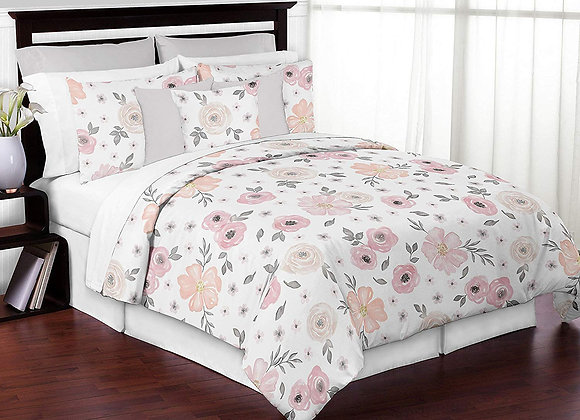 Sweet JoJo Designs Watercolor Floral Quilt and Sham Bedding Set
