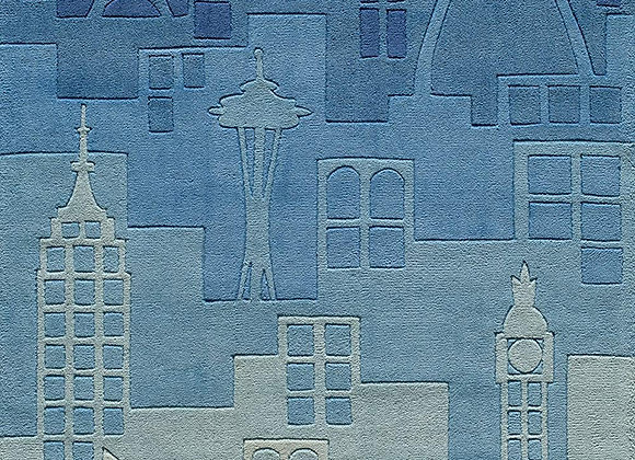 Momeni Kids Blue City Silhouette Hand Carved and Tufted Area Rug