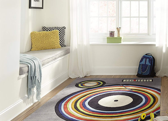 Hand Carved and Tufted Record Player Gray Rug