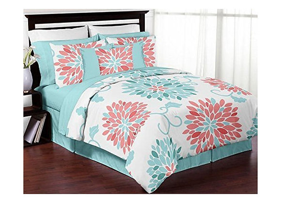 Sweet JoJo Designs Turquoise and Coral Emma Bedding Set