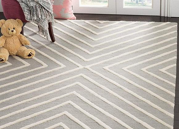 Safavieh Kids Gray and White X Pattern Wool Area Rug
