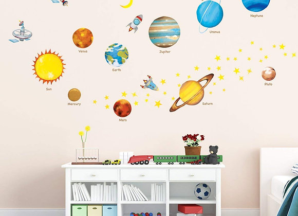 Planets in Outer Space Wall Decals