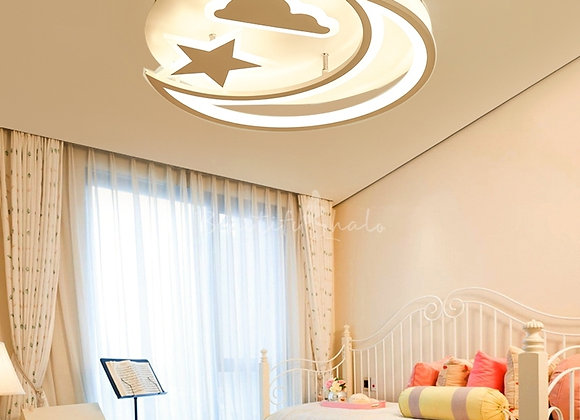 Moon Stars and Clouds LED Flush Mount Ceiling Light
