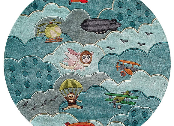 Momeni Kids Plane Blue Sky Hand Carved and Tufted Kids Area Rug