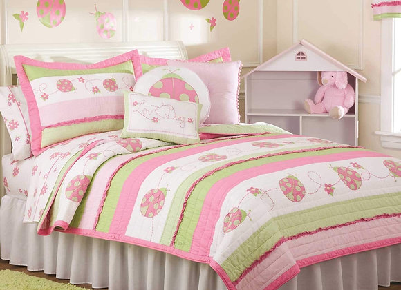 Crazy Ladybug Quilt and Sham Bedding Set