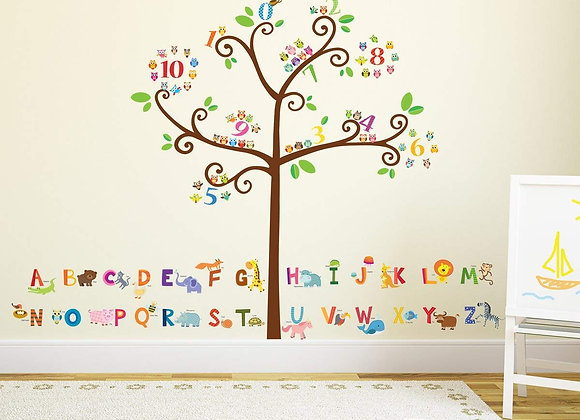 Owl Alphabet and Number Wall Decal