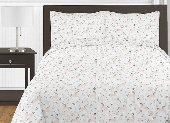 Sweet JoJo Designs Pink Gray and Gold Unicorn Quilt and Sham Bedding Set