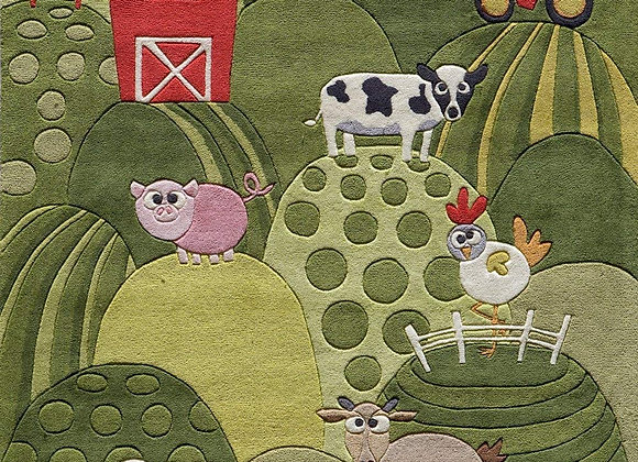 Momeni Kids Farm Animal Hand Carved and Tufted Kids Area Rug