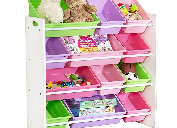 12 Bin Toy Storage Organizer White Pastels