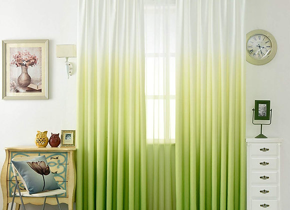 Set of 2 Ombre Green and White Sheer Window Panels