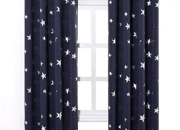 Set of 2 Navy Blue with Silver Stars Grommet Blackout Drapes