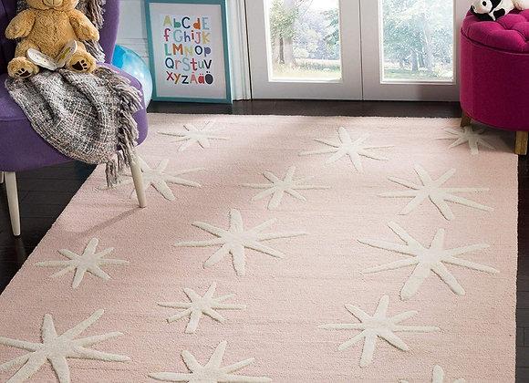 Safavieh Kids Pink Starbursts Wool Area Rug