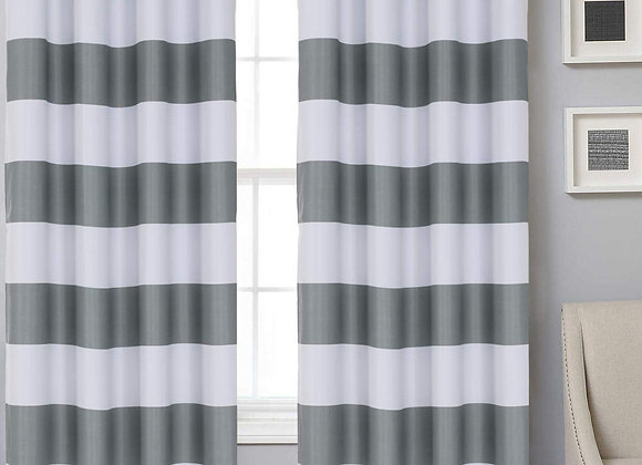Gray and White Striped Blackout Grommet Panels