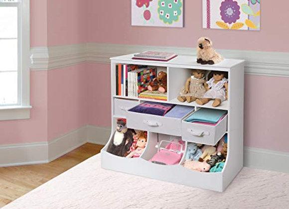 Combo Shelf Bin and Drawer White Storage Unit