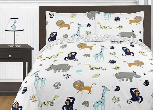 Sweet JoJo Designs Safari Animal Mod Jungle Striped Quilt and Sham Bedding Set