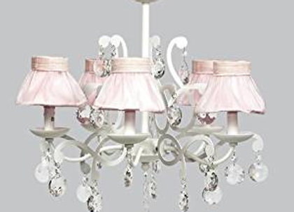 White 5 Arm Crystal Chandelier with Pink Sheer Skirt Shades