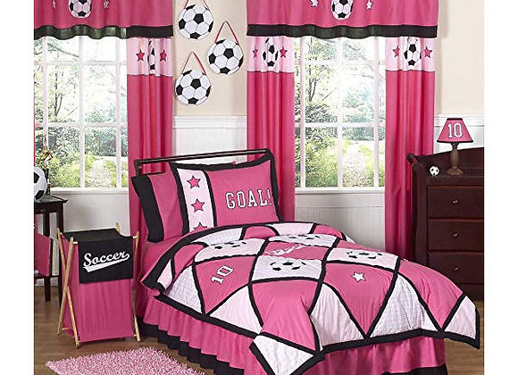 Sweet JoJo Designs Pink Soccer Bedding Set