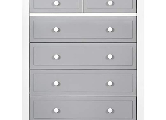 Parker 6 Drawer Tall Chest Dresser in White and Dove Gray