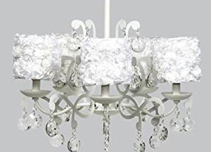 White 5 Arm Crystal Chandelier with White Rose Garden Shades