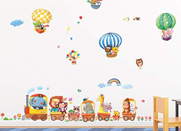 Hot Air Balloon and Animal Train Wall Decals