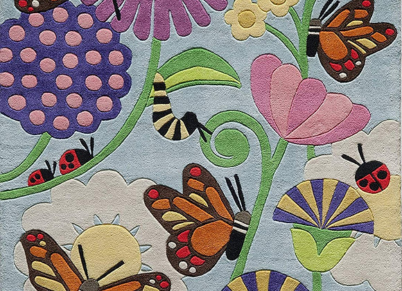 Hand Carved and Tufted Butterfly Garden Area Rug
