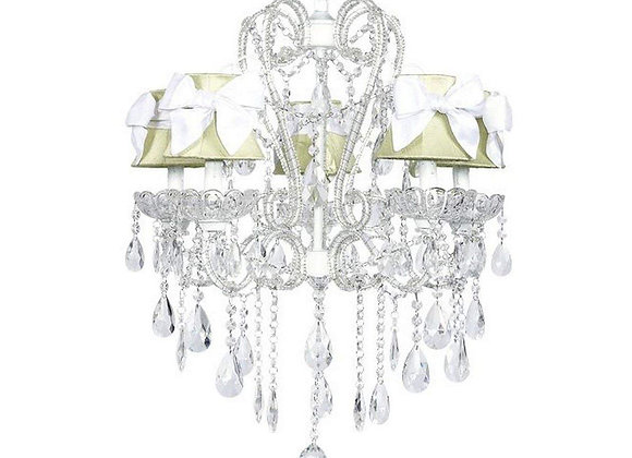 Jubilee 5 Light Carousel Crystal Chandelier with Green Silk Shades