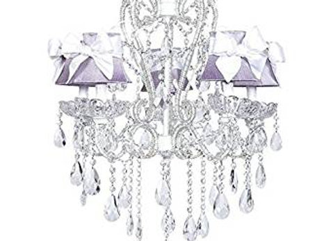 5 Light White Crystal Chandelier with Lavender Silk Shades