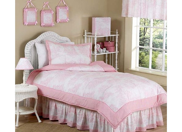 Sweet JoJo Designs Pink Toile Quilt and Sham Bedding Set