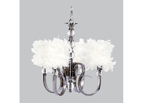 Jubilee 4 Light Hampton Crystal Chandelier with White Feather Shades