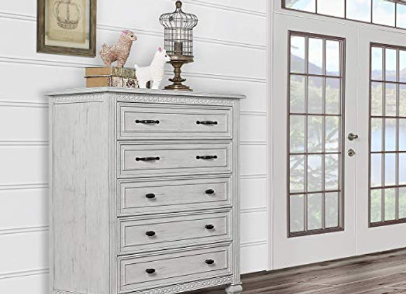Madison 5 Drawer Tall Chest Dresser in Antique Mist Gray