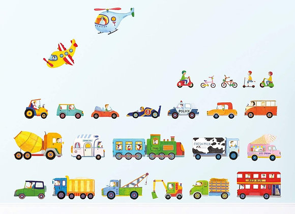 Transportation Peel and Stick Wall Decals