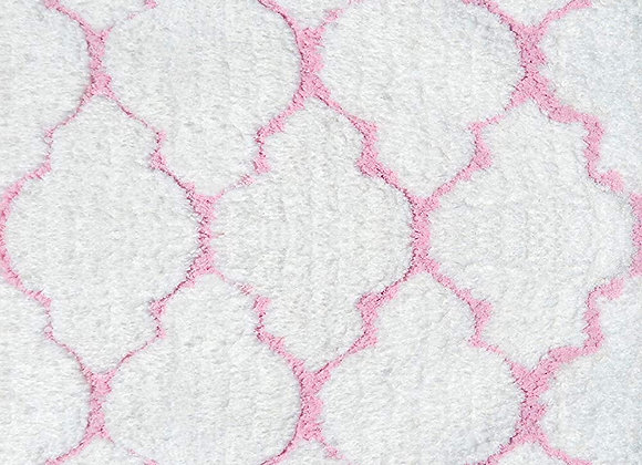 White and Light Pink Clouds Hand Tufted Shag Area Rug