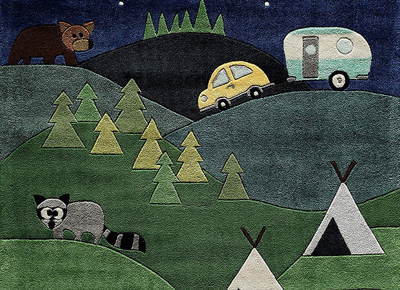 Camping Wildlife Hand Tufted and Carved Kids Area Rug