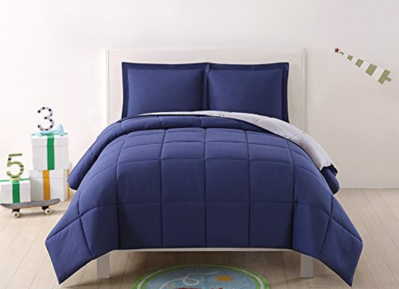 Laura Hart Reversible XL Comforter and Sham Set Navy Blue and Gray