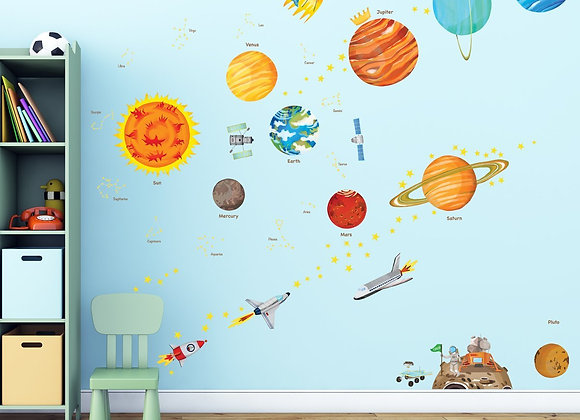 Solar System Colorful Set of Wall Decals