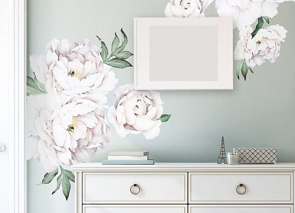 Set of 6 Giant White Peony Wall Decals